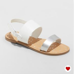 NWT Cat & Jack Magalie Silver Ankle Strap Sandals